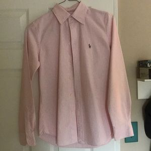 pin striped pink and white polo